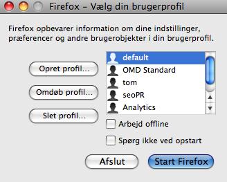Flere profiler i Firefox