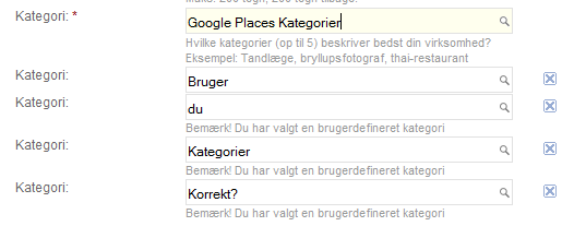 Bruger du Google Places kategorier korrekt?