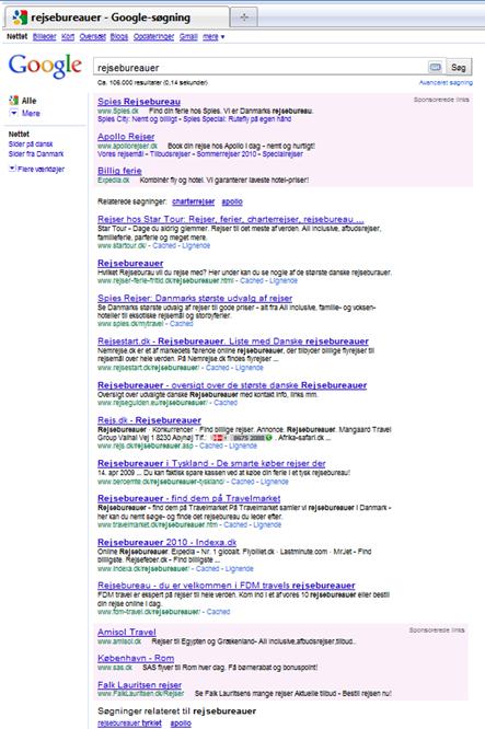Sponsorerede links i bunden af Google Serp