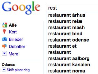 Google suggest odense