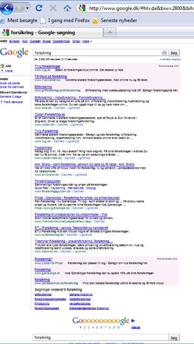 Google tester placering af Google AdWords