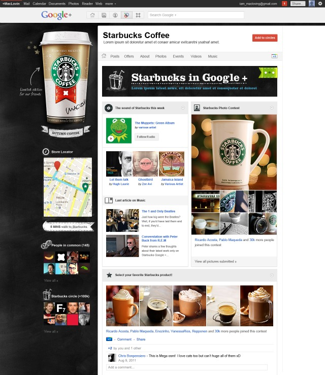 Starbucks Google Plus Brand Page