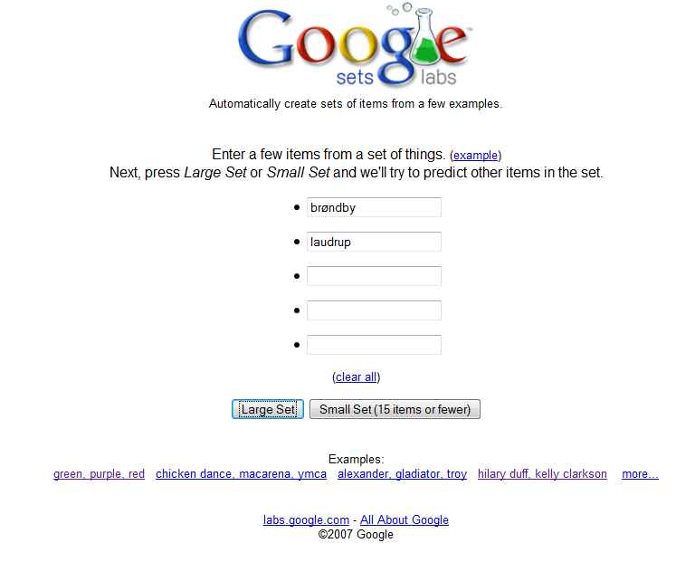 Google Sets i Google Drive