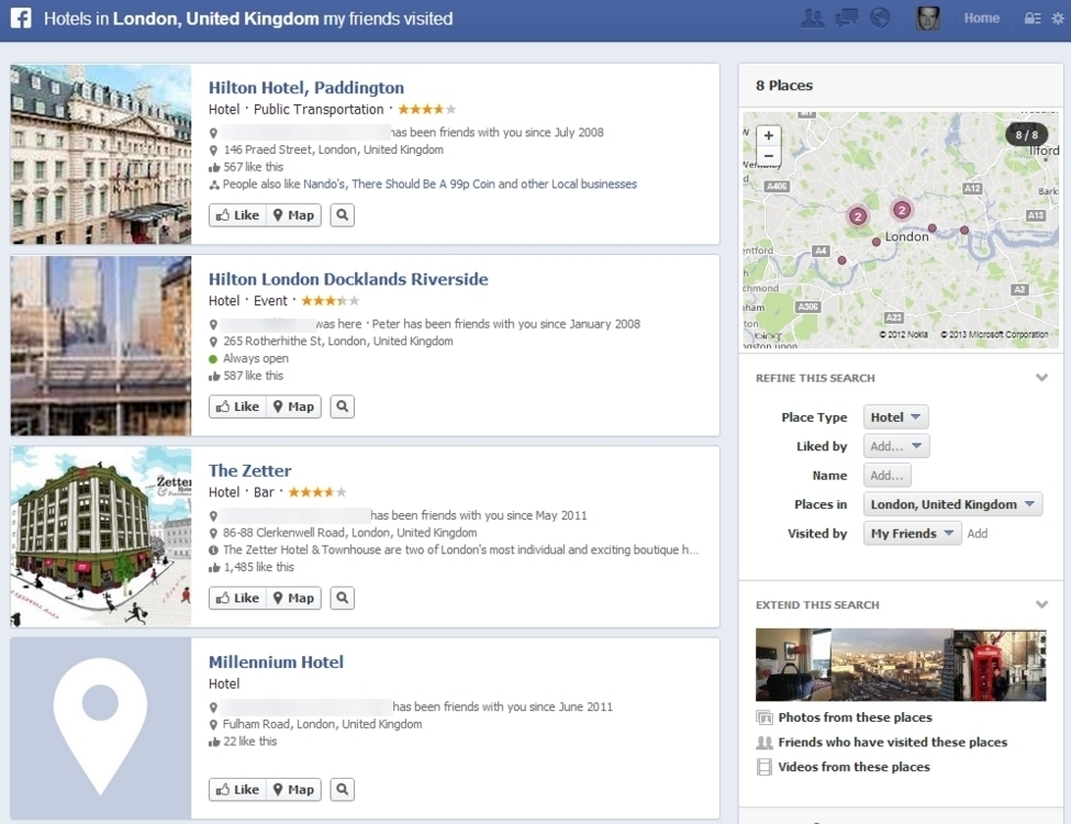 Facebook graph search london