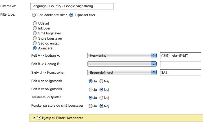 Google Analytics filter - track sider fra Danmark og sider på dansk