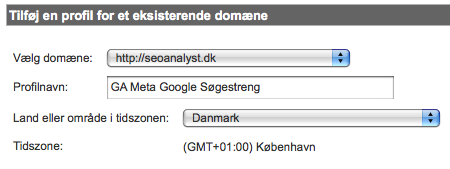 Opret profil i Google Analytics