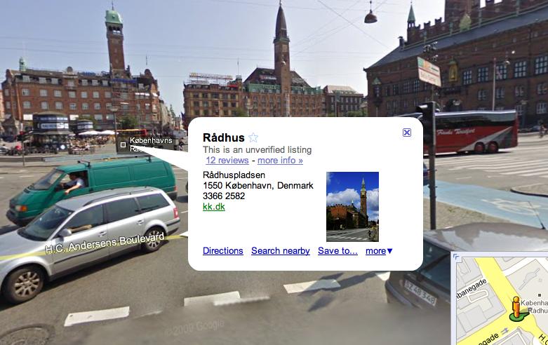Lokale listings i Google Streetview - Rådhuspladsen i København