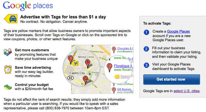Google places - tags