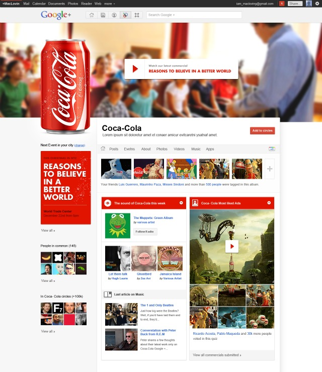 Coca Cola Google Plus Brand Pages