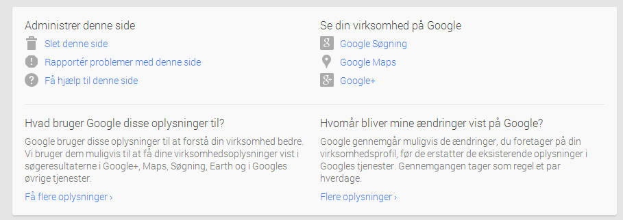 Administrer denne side - Google My Business