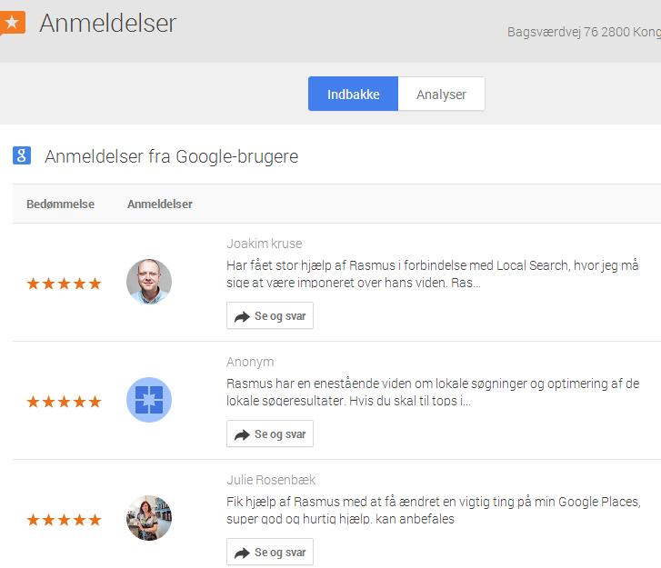Google my business - anmeldelser